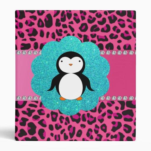 Fancy penguin pink leopard pattern 3 ring binder
