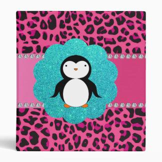 Fancy penguin pink leopard pattern vinyl binder