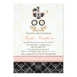 """Fancy Pink and Black Damask Carriage Baby Shower 5"""" X 7"""" Invitation Card"""