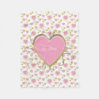 Fancy Pink and Gold Hearts with Monograms Fleece Blanket