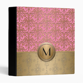 Fancy Pink and Gold Monogram Damask Pattern Binder