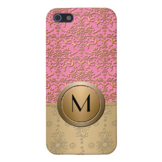 Fancy Pink and Gold Monogram Damask Pattern iPhone 5/5S Case