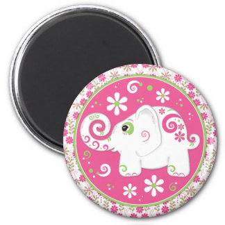 Fancy Pink and Green Elephant and Floral Magnet