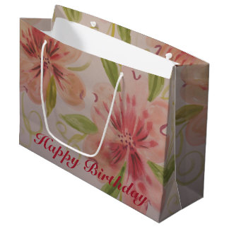 Fancy Pink And Rose Watercolor Paper Gift Bag