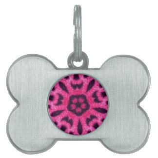 Fancy Pink Leopard Flower Kaleidoscope Pet Tag