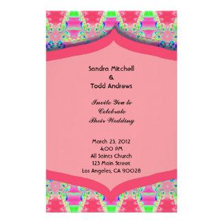 Fancy Pink Pattern Wedding Stationery Design