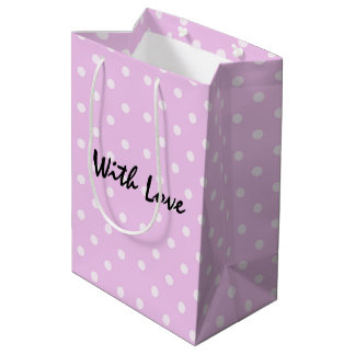 Fancy Pink Polka Dot Pattern With Love Medium Gift Bag