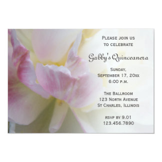 Fancy Pink Tulip Quinceanera Invitation