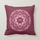 Fancy pink victorian motif on burgundy monogram throw pillow