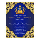 "Fancy Prince Baby Shower Blue and Gold 4.25"" X 5.5"" Invitation Card"