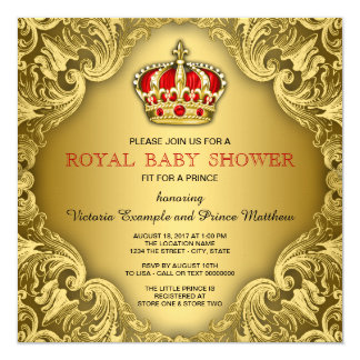 """Fancy Prince Baby Shower Red and Gold 5.25"""" Square Invitation Card"""