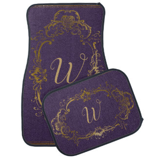 Fancy Purple and Gold Monogrammed Car Mat Set