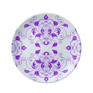Fancy Purple Flower/Scroll Design Plate by Julie