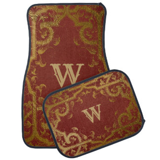 Fancy Red and Gold Monogrammed Car Mat Set