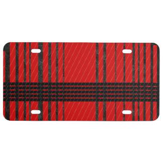 Fancy Red Black Stripe Pattern License Plate