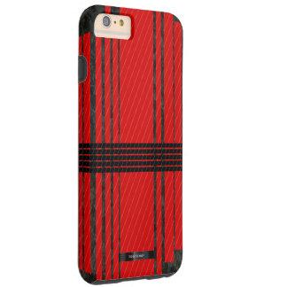 Fancy Red Black Stripe Pattern Tough iPhone 6 Plus Case