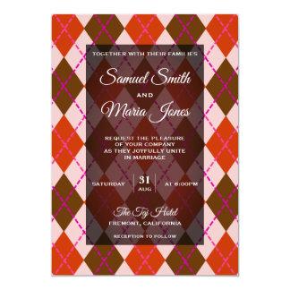 Fancy Red Brown Argyle Pattern Wedding Invitation