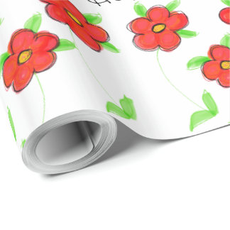 Fancy Red Flowered Birthday Gift Wrap
