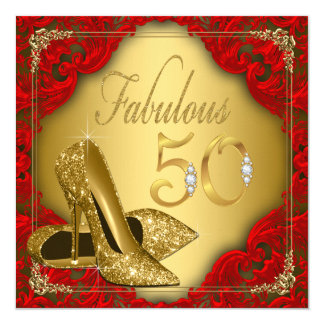 "Fancy Red Gold High Heel Fabulous 50th Birthday 5.25"" Square Invitation Card"