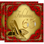 """Fancy Red Gold High Heel Fabulous 65th Birthday 5.25"""" Square Invitation Card"""