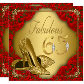 Fancy Red Gold High Heel Fabulous 65th Birthday Card