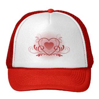 Fancy Red Heart Trucker Hat