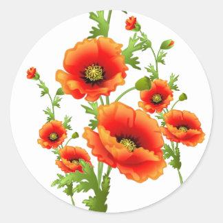 Fancy Red Poppies, garden flower dream stickers