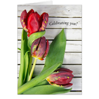 fancy red tulips on wood card
