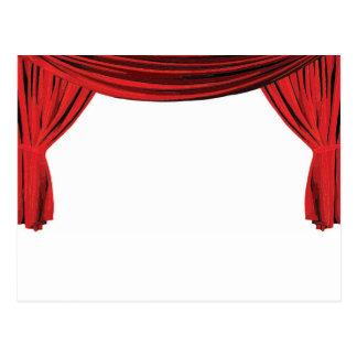 Fancy red velvet showcase curtain invite postcard