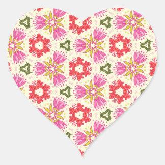 Fancy Retro Pretty Pink Red White Flower Design Heart Sticker