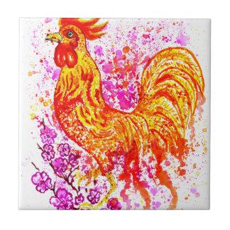 Fancy Rooster Art 3 Tiles