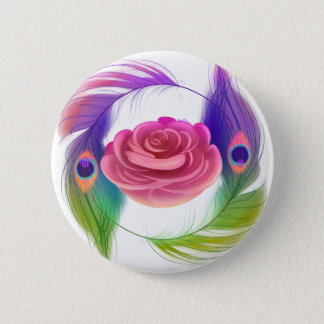 Fancy Rose & Feathers Button