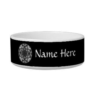 Fancy Round Design on Black. Cat Bowl