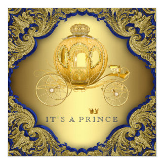 Fancy Royal Blue Gold Glitter Prince Baby Shower Card