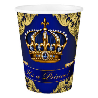Fancy Royal Blue Gold Prince Baby Shower Paper Cup