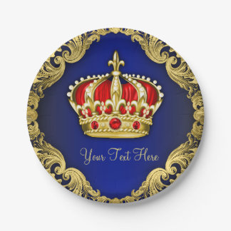 Fancy Royal Prince Baby Shower 7 Inch Paper Plate