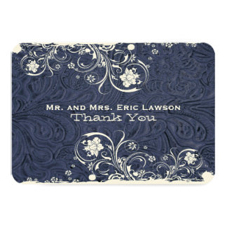Fancy Rustic Blue Leather Look Thank You Card