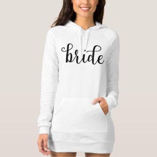 Fancy Script Black Typography Bride Hoodie Dress