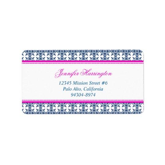 Fancy script hot pink navy filigree custom mailing label