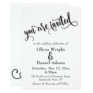 Fancy Script Letters Black & White Wedding Card