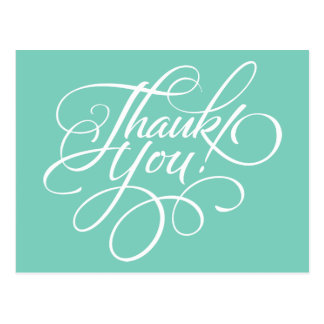 Fancy Script Turquoise Thank You Card Postcards