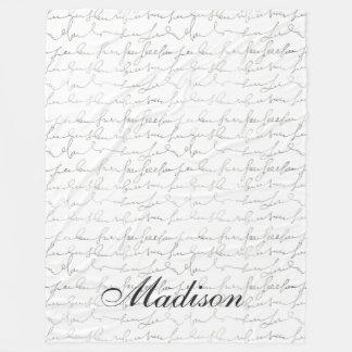 Fancy Script Writing Black White Custom Name Fleece Blanket