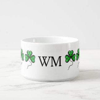 Fancy shamrocks monogrammed bowl