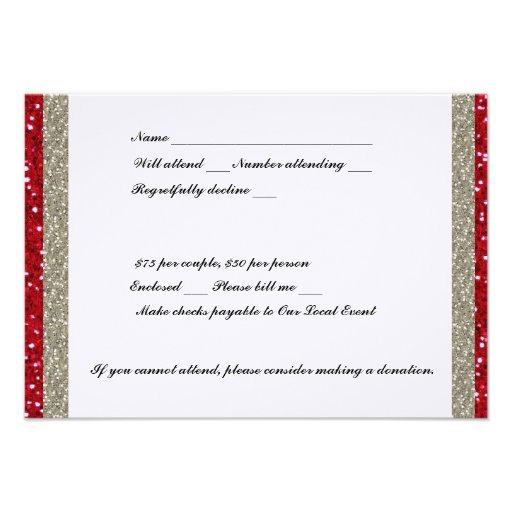 Fancy Silver and Red RSVP Custom Announcements