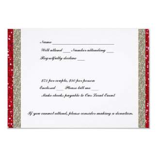 Fancy Silver and Red RSVP 3.5x5 Paper Invitation Card