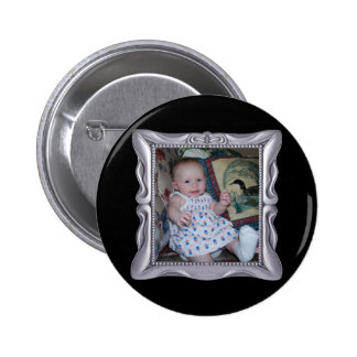 Fancy Silver Frame Add Photo Here 2 Inch Round Button
