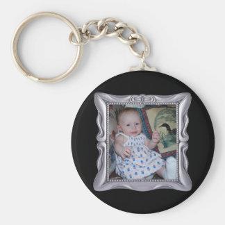 Fancy Silver Frame Add Photo Here Basic Round Button Keychain