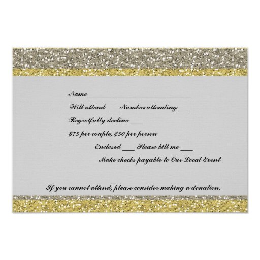 Fancy Silver Gold Glitter Event RSVP Personalized Invites