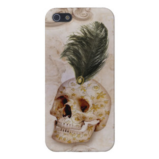 Fancy Skull & Feather on Marble Case For The iPhone 5