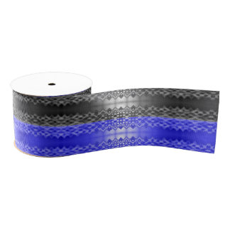Fancy Stripes Blue Black Grosgrain Ribbon